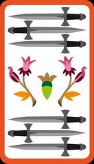 6 d'Épée (aluniverse) Tags: bâtons coupes épées deniers tarotdemarseille arcanesmineurs arcanemineur 56cartes