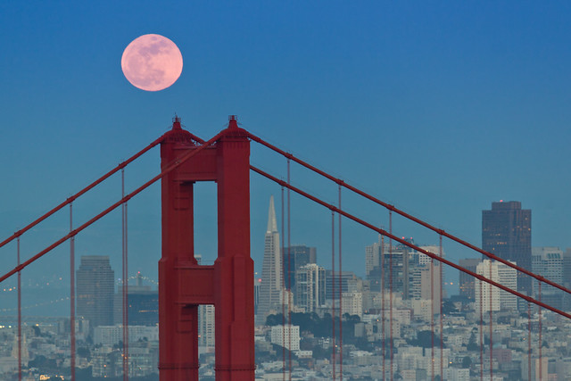 "Moon Rise - ""Super Moon"" - over Golden Gate Bridge"