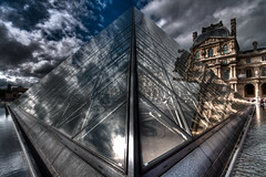 Spacetime vessel (Michel Couprie) Tags: sky paris france glass museum architecture clouds angle pov louvre geometry reflect pyramide pei hdr