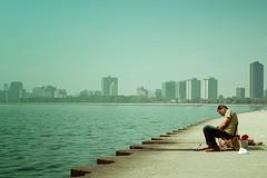 Gone, Fishin (pantagrapher) Tags: lake chicago fishing fisherman nikon sleep michigan lakeshore montrose d600