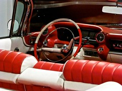 Red'n'white steering (chicagoredhead) Tags: california car wheel vintage la losangeles steering dashboard automotivemuseum
