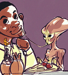 Will Smith and the Alien from Independence Day sharing spaghetti like Lady and the Tramp. (The Wisest Wizards) Tags: art alien disney spaghetti independenceday willsmith id4 ladyandthetramp