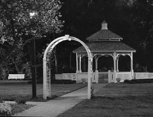 Late Night at the Gazebo bw