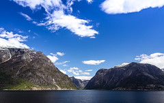 Fjord (Dankish) Tags: blue sea sky sun white water norway clouds snowy sunny fjords