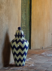A touch of color (phxdailyphotolady) Tags: door blue arizona white art club golf ceramic style course jar jug vase scottsdale decor southwestern