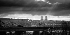 gibson_20121125_0773-HDR.jpg (GibsonVisuals Photography) Tags: blackandwhite canada clouds landscape bc britishcolumbia highcontrast overcast backlit sunrays fraserriver alexfraserbridge coverphoto