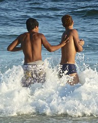 Friends have fun on the beach series (alobos Life) Tags: friends boy brazil amigos cute beach boys water beautiful rio brasil de fun outdoors nice funny janeiro candid playa guys have speedo garotos enjoying sunga divertido