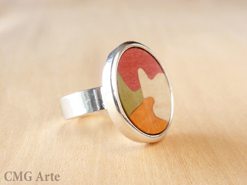 Anillo de madera y plata. Silver plated & Wood Inlay ring.
