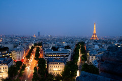 Paris at night (laurajbrunton) Tags: sunset paris france streets night lights view dusk eiffeltower arcdetriomphe