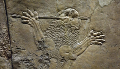 Lion Hunts of Ashurbanipal, dead male lion (2D)