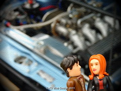 The Dr and Amy car show looking at engine