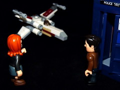 The Doctor & Amy looking at new transport The X-Wing