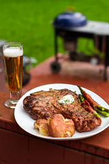 Mesquite Grilled Porterhouse (Another Pint Please...) Tags: beef vegetable meat grill steak asparagus grilled weber porterhouse
