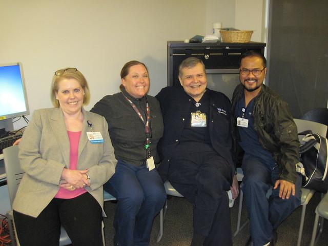 (left) Pat Matos, DNP, RN, NEA-BC; Heather Lowry, LVN; Scott Grosz, MSN, RN; Alfred Villapane, BSN, RN