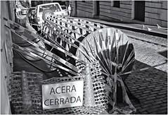 Acera Cerrada (Closed Sidewalk) (Black and White Fine Art) Tags: canon20d canoneos28105usm acera sidewalk sanjuan oldsanjuan viejosanjuan puertorico aviary lightroom niksilverefexpro2 bn bw adoquines cobblestones