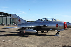 MiG-15 UTI Red 18 - Norwegian Air Force Historical Squadron Rygge AB (stu norris) Tags: flyvpnetshistoriskeskvadron mig15uti red18 norwegianairforcehistoricalsquadron ryggeab 137 137airwing iwm duxford warbird airshow aviation blue sky outdoor jet fighter russian