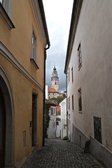 Watch Tower at the end of a Narrow Cobbled Street (smilla4) Tags: medievalcity watchtower cobblestonestreet ceskykrumlov czechrepublic