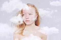 Daydreamer (Allie Riley) Tags: blueeyes blonde overlay dream pastel edit minimalist light girl clouds self portrait selfportrait