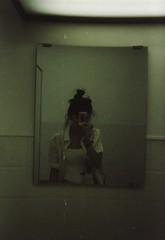 Hot mess (Ami Van Caelenberg) Tags: analog analogue disposable disposablecamera fujifilm selfie selfportrait self haafu japanese belgian girl asian mirror reflection bathroom japan nagasaki bun people