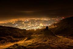 All Hallows' Evening (Geoff Moore UK) Tags: halloween mist fog night stars lighting town city adventure outdoors nightime hiking man dog walking trail climbing malvern malvernhills worcestershire uk england midland