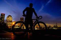 Man and Bike (Chris Olbekson) Tags: cinelli houston allenparkway buffalobayoupark fixie fixedgear cinellimash nightshot