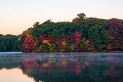 Posneganset Pond (E. Aguedo) Tags: fall forest leaves colors pond lake water posneganset trees warwick rhode island ngc new england reflection sunrise