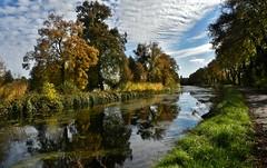 ~~ Le long du canal..~~ (Jolisa) Tags: canal automne autumn eau arbres trees ciel sky nuages clouds reflets couleurs octobre2016 picmonkey