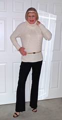 White turtleneck and black pants! (donnacd) Tags: sissy tgirl clit clitty tgurl jewels dressing crossdress crossdresser cd travesti transgenre xdresser crossdressing feminization tranny tv ts feminized domina donna red dress scarf heels gold crossed legs pumps shoes panties thong polka dots white blouse earrings hair black stockings tights bra fishnet corset necklace collar