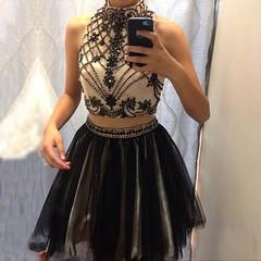 homecoming dress (maweiyu) Tags: homecoming dress dresses black sexy short two piece beading rhinestones cheap sheap under 100