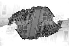 PLV II (Sju ND) Tags: bw blackandwhite monochrome building plovdiv double exposure canon kodak film photography architecture