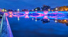 Lovely Lights (tquist24) Tags: hdr indiana jeffersonstreetbridge nikon nikond5300 outdoor southbend stjosephriver blue bluehour bridge downtown geotagged lights longexposure pink reflection reflections river water unitedstates