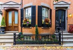 Boston Doors ((Jessica)) Tags: brownstones a6000 rokinon12mm massachusetts 12mm rokinon boston sony southend wideangle historic newengland fall autumn doors brick
