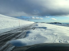 Road Blockage (kevin-palmer) Tags: bighornmountains bighornnationalforest wyoming snow snowy white cold winter fall autumn november thanksgiving windy highway14a road drifts drifting clouds blue sky iphone6 icy sunny sunshine