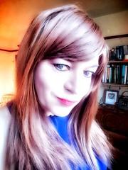 ydras (Steph Angel) Tags: stephangel steph crossdress cd dress bluedress dressing transvestite tranny trans girl feminine female femme portrait face beauty lipstick lips eyes mascara makeup longhair hair