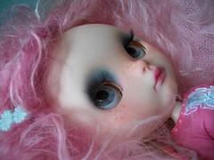 A Pink Profile....... (simplychictiques) Tags: blythedoll bluebutterflydollscustom blythe ooakcustomblythedoll lavenderhugscustom pink freckles childlike pinkweft blythewithweft profileshot faceupbybea pinkhairedblythedoll pinkandaqua formerlytillie paisley