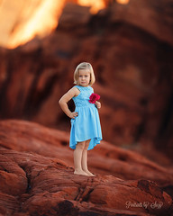 Desert Rose (Portraits by Suzy) Tags: desert color sunset light blue red summer beautiful girl beauty sun fashion nature nevada pose child childhood flower warm natural boho pretty portraits by suzy dress mead 200mm complimentary