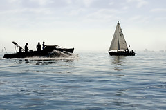 Sailing at the IJmeer near Amsterdam, The Netherlands (Simon Christiaanse) Tags: lake holland water silhouette landscape boat europe sailing nederland thenetherlands simonchristiaanse