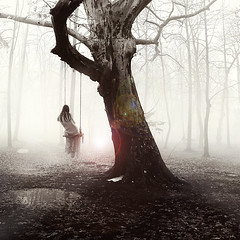 After The Rain (George Christakis) Tags: life wood trees light woman white lake black tree art leave girl leaves rain fog fairytale lens death lights photo george woods dress forrest image artistic surrealism dream foggy surreal atmosphere thoughts flare after dreamy concept conceptual christakis