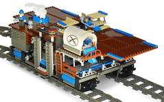 """""""Independence-Class"""" Light Double-Gauge Steam Railcarrier Mk. LXIX (front) (aillery) Tags: train war track lego aircraft military great rail double steam locomotive battleship machines gauge armored carrier select steampunk ironclad railship"""