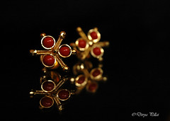 JEWELLED (Divya.pillai) Tags: red reflection coral earring
