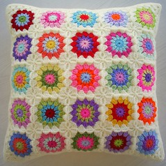 004 (riavandermeulen) Tags: colors vintage colorful squares circles crochet retro pillow cover granny cushion madebyria