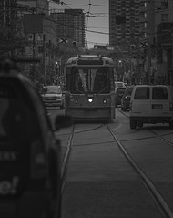 Oncoming traffic (GBaker63) Tags: bw toronto traffic ttc streetcar canonef85mmf18usm canoneos60d