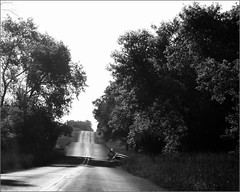 Road Narrows (joeldinda) Tags: road bridge trees bw michigan joeldinda c50 sunfieldtownship