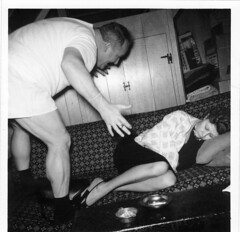 found photo (some lout) (William Keckler) Tags: strange vintage weird sleep retro asleep brando bizarre streetcarnameddesire vintagephoto sleepingwoman stanleykowalski lout playacting fiftiesblackandwhite fiftiesphoto