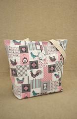 Vintage Pastel Kitchen Tote Bag (BrianinLR) Tags: pink chicken bag handmade pastel craft purse button handbag tote motherofpearl