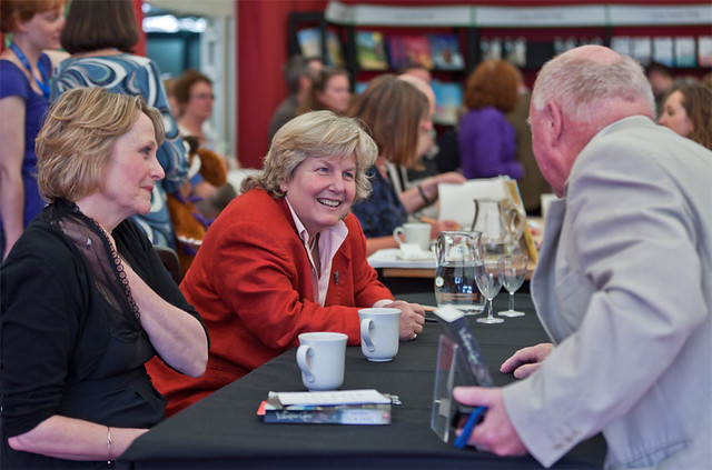 Sandi Toksvig signing books for her fans
