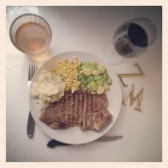 Steak + local corn + homegrown Lima beans + mashed potatoes |  | #friday #yum #zm (zamartz) Tags: mashed potatoes beans corn yum lima steak local friday homegrown | zm instagram ifttt