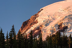 Early Morning Light on Mt. Adams and its Lyman Glacier (Lee Rentz) Tags: morning trees light wild usa nature america forest landscape dawn volcano washington northwest foggy glacier adventure nationalforest backpacking cascades pacificnorthwest northamerica wilderness washingtonstate mtadams volcanic mountadams glacial cascademountains cascaderange usforestservice subalpine highlinetrail lymanglacier giffordpinchotnationalforest mountadamswilderness lavaglacier mtadamswilderness