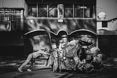 Push (Vortex Bits) Tags: life street blackandwhite work garbage mexicocity labor streetphotography basura heavy load coyoacan distritofederal garbageman ciudaddemxico wastedisposal lifeinmexico cdmx nikond600 sigma35mmf14 garbagepusher municipalduties pushinggarbage