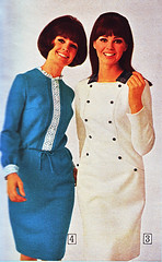 Sears 66 fw blue white dresses (jsbuttons) Tags: clothing mod 60s buttons sears womens 1966 catalog sixties vintagefashion